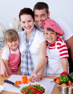 family preparing healthy lunches for school
