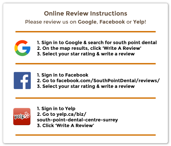 south point dental review instructions