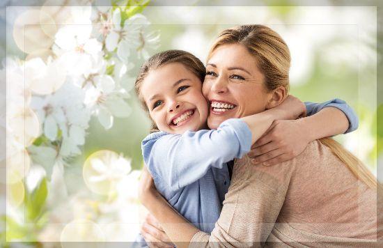 Mother Daughter Hugging Spring